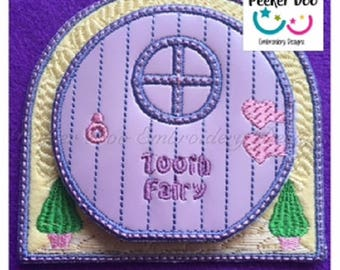 "Beautiful 3D Tooth Fairy Door Embroidery Applique Design. 4x4"" hoop. ITH Design file. This is a design file only not a ready made item."