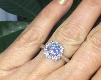 Forever One Moissanite Halo Engagement Ring Diamond Halo 7.5mm Center Stone Art Deco Style .23ct Natural Diamond 18k White Gold Ring