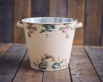 "DOUBLE-SIDED ""Country Garden"" Bucket, washtub, newborn props, newborn posing, baby photo prop, newborn photo prop, newborn prop"