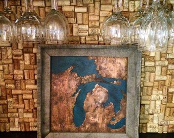 Michigan Copper Metal Map Art MI Artwork with Rustic Reclaimed Wood Frame