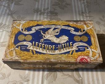 Antique French Advertising Biscuit Tin  Lefevre-Utile Advertising Tin - French Biscuit Box - Cookie Tin -  French Kitchen  Kitchen Display