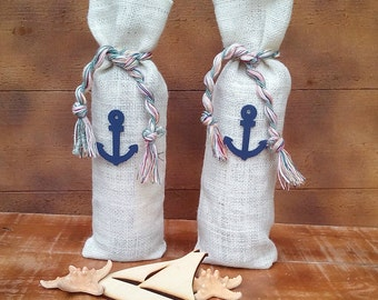 Burlap Wine Bottle Holder - Ivory Burlap Wine Bag - Wine Cozy- Wedding Table Decor - Wine bag - Wine Sack - Nautical Wine Bag - Qty 3