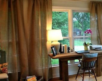 "Burlap Curtain - Burlap Drape - Rustic  Burlap Curtain Panel - 38"" Wide - Rustic  Home Decoration - Choose Length"