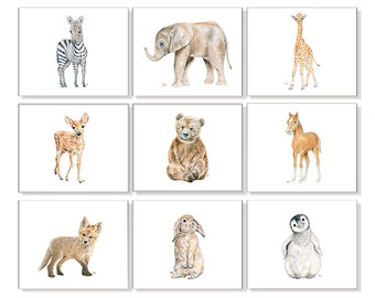 Childrens Art Childrens Prints Childrens Wall art Childrens Room Decor Girls Room Art Boys Wall Art Playroom Art Animal Prints Set of 9.