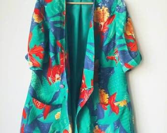 Vintage eighties tropical flower blazer