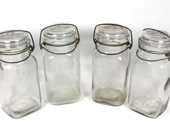 Set of 4 Quart Size Queen Wide Mouth Canning Jars Square Smalley Kivlan Onthank SKO Boston
