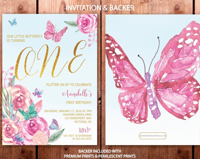Butterfly First Birthday Invitation // Butterflies // 1st Birthday Invitation // Butterfly // Floral // Watercolor // VICTORIA COLLECTION