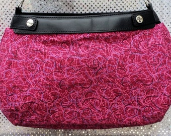 PS 010   Pink Gray Black Swirls Dark Pink Design Suite Skirt COVER ONLY for the 31 Suite Skirt Purse Handmade