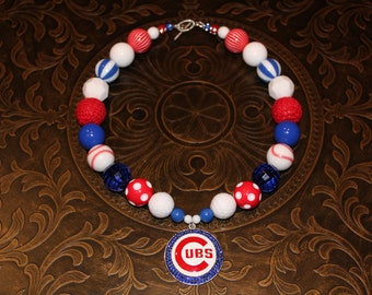 Chicago Cubs Inspired Chunky Necklace