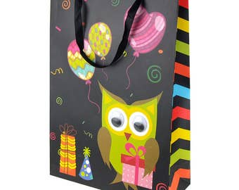 Owl with Gift Box and Balloons Baby Shower Paper Gift Bags, Large, 16-Inch