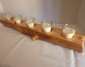 Unique Colorado Aspen Tree Log Candle Holder with 5 Votive Candles