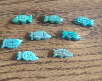 Vintage Genuine Turquoise Hand Carved Armadillo Fetish Beads. Native American. LIMITED QUANTITY (2040087)