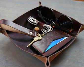Leather Valet Tray | Burgundy Horween Chromexcel Leather