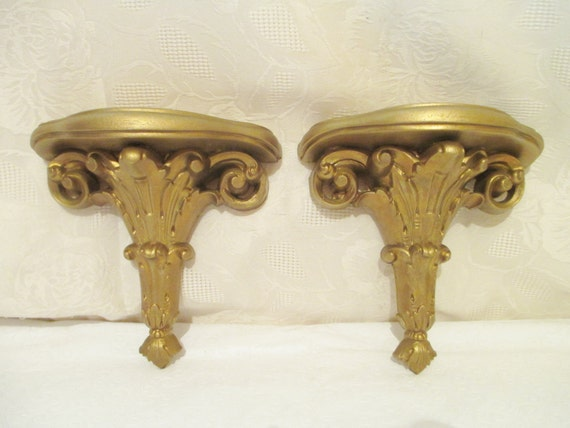 Vintage Gilt Shelf Syroco Wall Shelf Art Deco Style 2 Gold