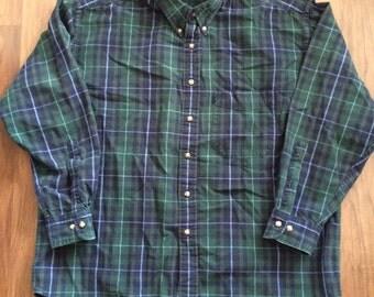 Vintage Pendelton green plaid flannel shirt