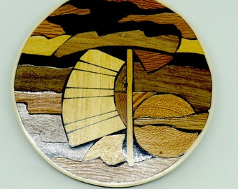 "Inlaid Tropical Wood; Medallion; Boat Scene; Approx. 2.5"" Round; Made in Philippines; Hand Crafted !!!"