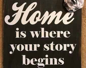 "Distressed Rustic Primitive Wood Sign Tile with ""Home is where your story begins"""