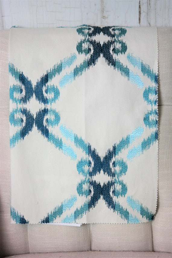 Upholstery, Geometric, Turquoise Fabric by the Yard, Home Decor, Drapery Curtains, Designer ...