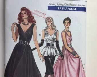 1980's Vintage Vogue Pattern 7053 Misses' Mock Wrap Dress, Top & Skirt Size 6 uncut