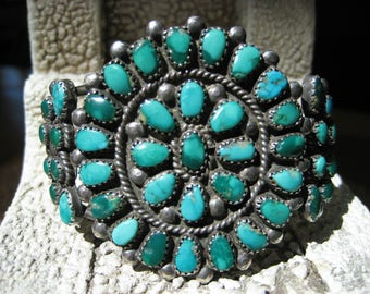 GREEN Navajo CUFF 44 TURQUOISE Stones 925 Sterling Silver Zuni 6 Inch Native American Indian Pueblo Southwest Cluster Bracelet