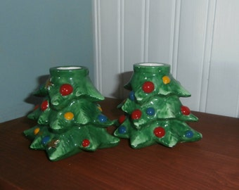 Vintage Lefton Christmas tree candle holders set of two with colorful painted ornaments and stars Japan
