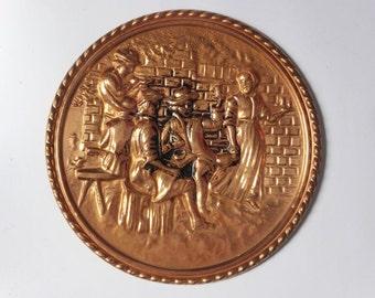 Vintage Copper Wall Plate ~ English Hammered Copper Plaque ~ Kitsch Decor ~ Rustic Pilgrim Plate ~ Retro ~ Farmhouse Kitchen ~ 1970s Decor
