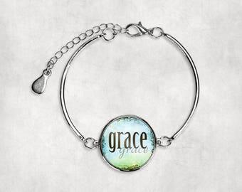 Christian Bracelet•Grace•Inspirational•Silver Bracelet•Bracelet•Religious•Spiritual•Faith•Gift under 20•Gift for Her• Encouragement