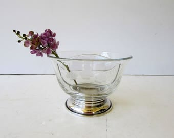Vintage Divided Serving Bowl - Divided Mayonnaise Bowl - Etched Glass - Silver Footed - Possibly Heisey - Floral Design - Silver and Glass