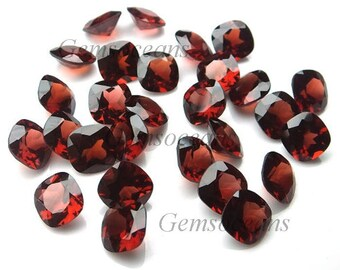 25 Pieces Lot AAA Quality Garnet Cushion Shape Faceted Cut Loose Gemstone