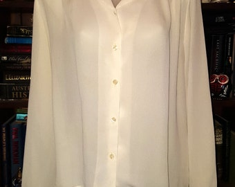 Vintage 60s semi sheer off white blouse pinup, rockabilly, mid century