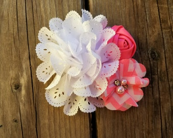 Hair Accessory, Girls Accessory, Baby Headband, Flower Headband, Spring Flower, Valentine's Day, Pearls, Baby Headband, Flower Hair Clip