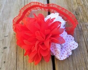 Hair Accessory, Girls Accessory, Girls Headband, Baby Girl Headband,Red/White Headband, Fabric Flower Headband, White/Red Flower, Photo Prop