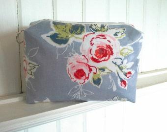 Red rose floral Oilcloth large make up / washbag. Toiletry bag.