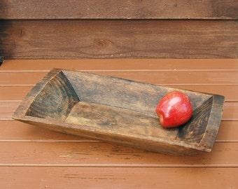 Old Dough Bowl,  Primitive Wooden Trencher, Carved Wood Bowl, Retangle Wood Trug, Log Bowl