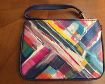 Hand Painted Leather Wristlet (Cell Phone Carrier)