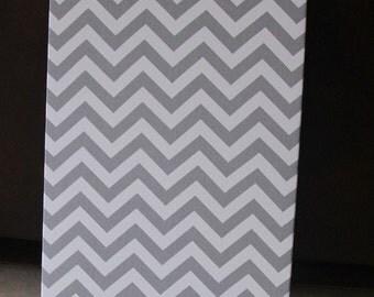 """Magnetic Board (24"""" x 28"""") Fabric covered magnet board  Decorative Bulletin Board Gray Chevron Light aqua"""