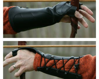 Youth/Petite Black Leather Arm Guard & Bow Hand Shooting Glove, Left Hand, Small