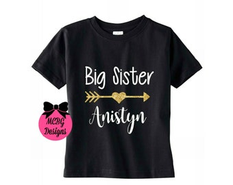 Personalized Big Sister Shirt-Baby Bodysuit•New Baby Sister•New Baby Brother•Baby Shower Gifts•Sister Gifts•Baby Arrival•Big Sister Shirt