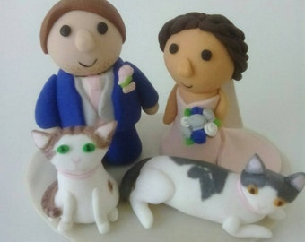 custom made wedding cake topper with pets - dog and cat