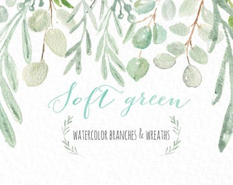 Soft green branches and wreaths watercolor  clipart hand drawn. Romantic wedding, sage green, tender green branches, wedding invitation.