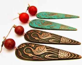 Bird Earrings, Crane Earrings, Statement Earrings, Long Earrings, Vintage Earrings, Boho Earrings, Art Nouveau Earrings, Nature Jewellery