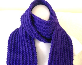 Purple Acrylic Scarf, 70 inches, Handknitted Scarf, Violet Knit Scarf, Ready to Ship