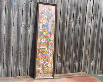 Vintage 1970's Large Mexican Amate Tree Bark Painting, Mexican Folk Art, Framed Mexican Art, Colorful Folk Art Birds