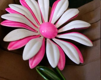 Pink and White Enamel Flower Pin - Brooch - Hot Pink - Green Stem - 1960's - Retro - Gift for Her - Jewelry - Costume Jewelry - Flower Power
