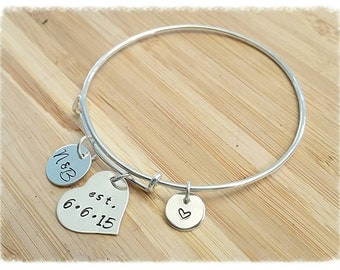 Adjustable Bangle Charm Bracelet ~ Sterling Silver Hand Stamped ~ Personalized Wedding / Anniversary Bracelet ~ Swarovski Birthstones