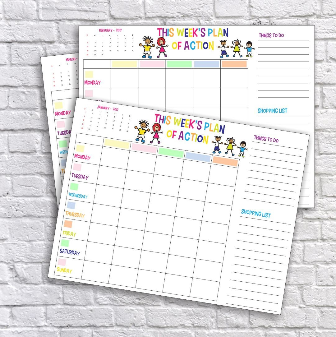 Family Calendars : Printable family weekly schedule plan of action calendar