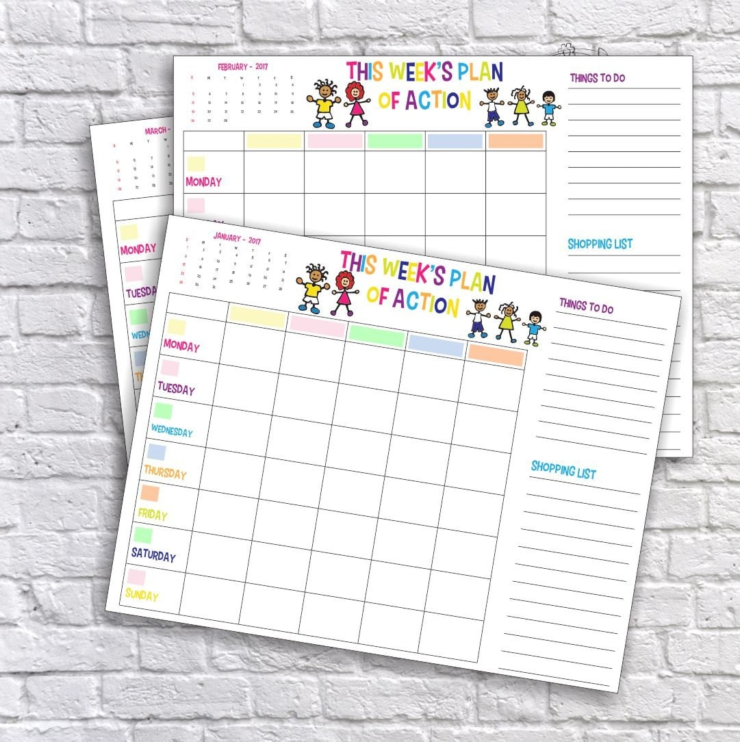 Weekly Refrigerator Calendar : Printable family weekly schedule plan of action calendar
