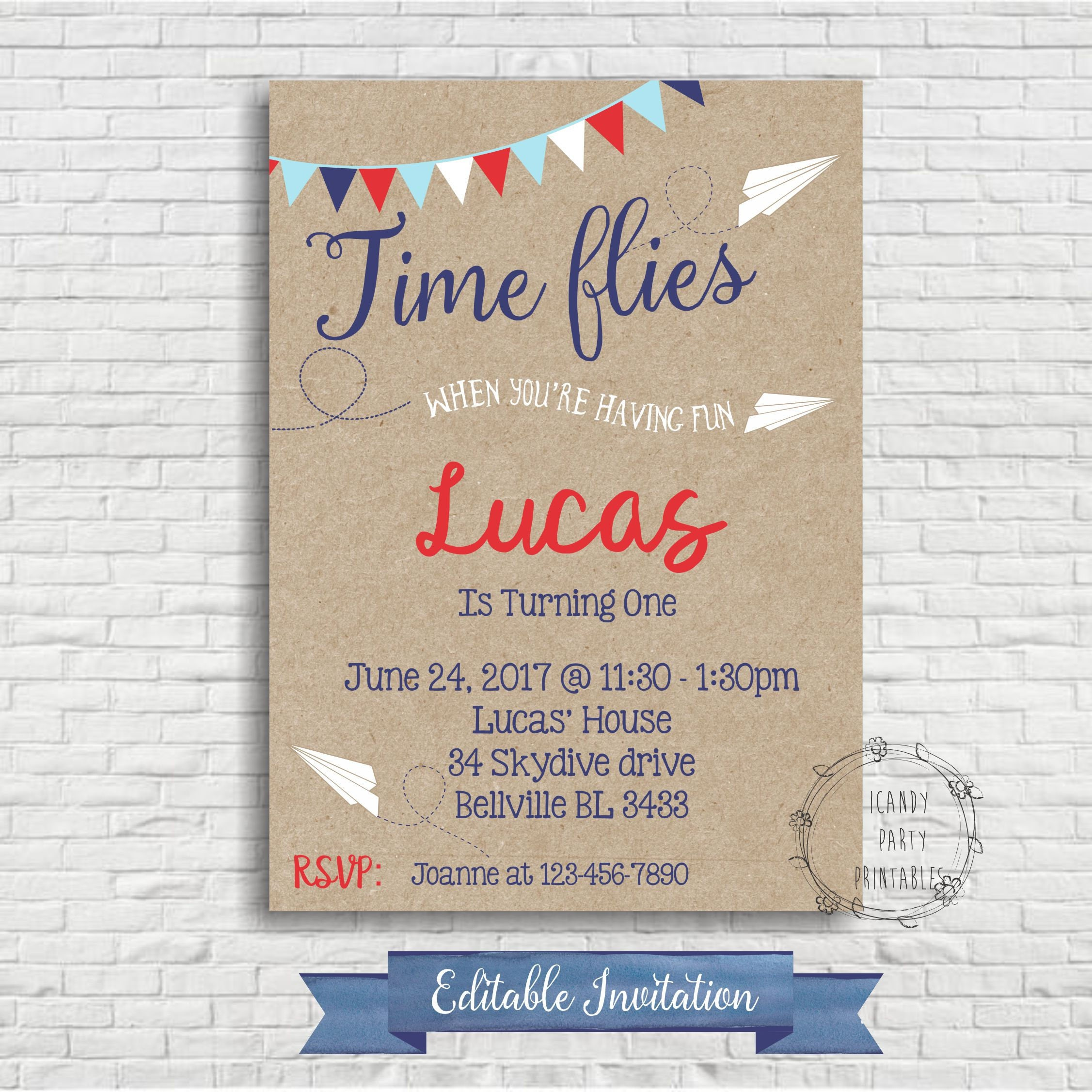 Time Flies When You Re Having Fun Quote: Airplane Birthday Invitation Paper Airplane First Birthday