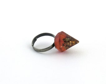 Orange with metallic flakes faceted spike, pyramid resin ring.