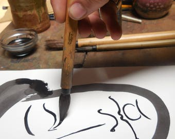 ORIGINAL sumi-e painting, Japanese ink, brushwork, woman's face, gift